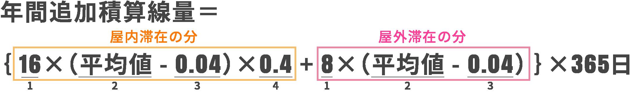 追加積算線量={16×(平均値- 0.04)×0.4+8×(平均値- 0.04)}×365
